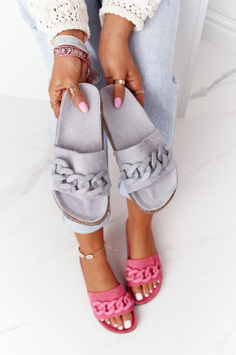 Suede Slippers On The Cork Sole Grey Makayla