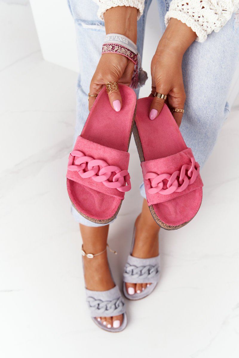 Suede Slippers On The Cork Sole Pink Makayla