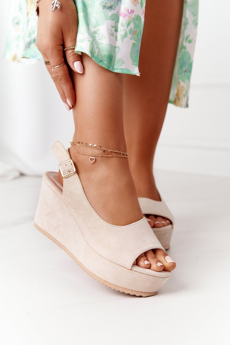 Suede Wedge Sandals Beige Party Time