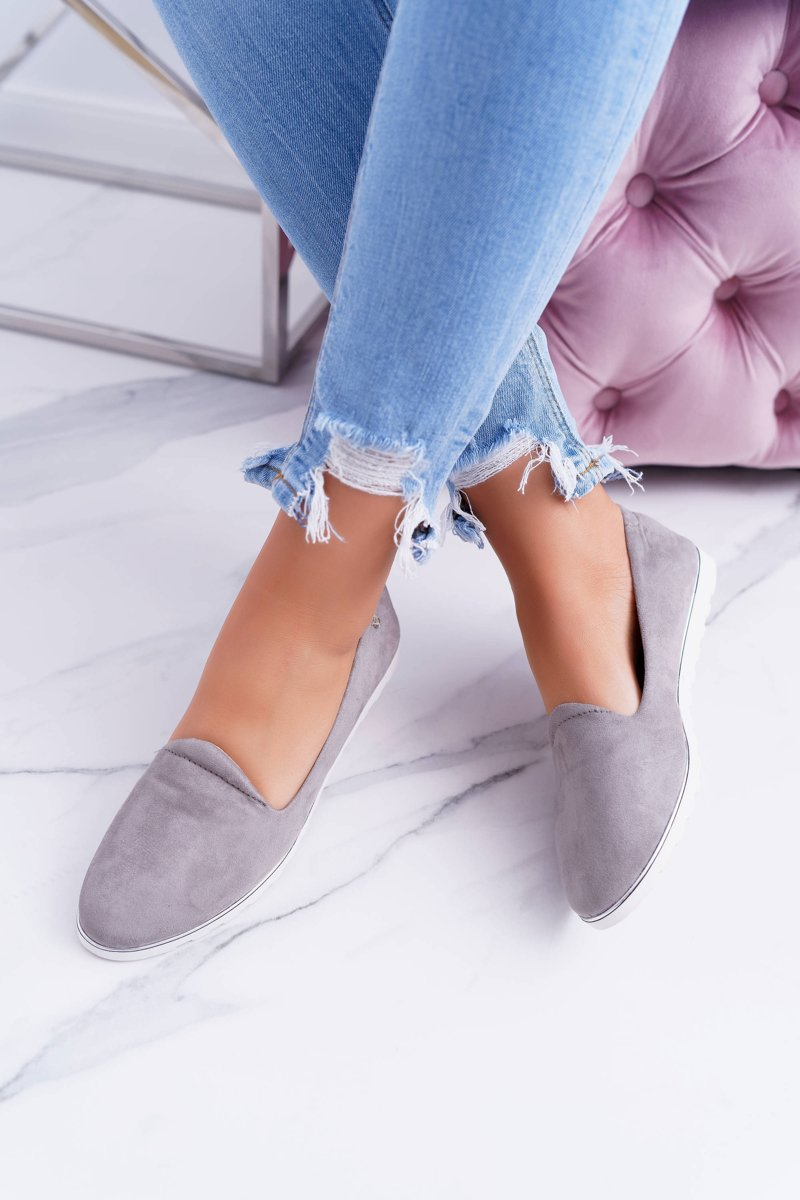 Vices   Gray Suede Ballerina Imany