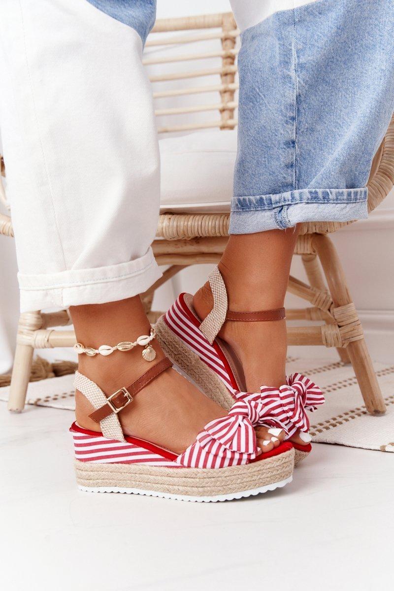Wedge Sandals In Sailor Style Red La Isla Bonita