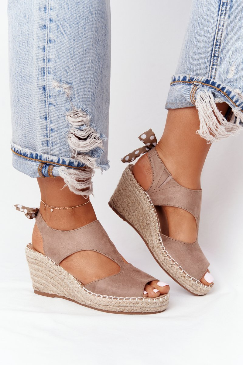 Wedge Sandals With Braids Beige Mykonos