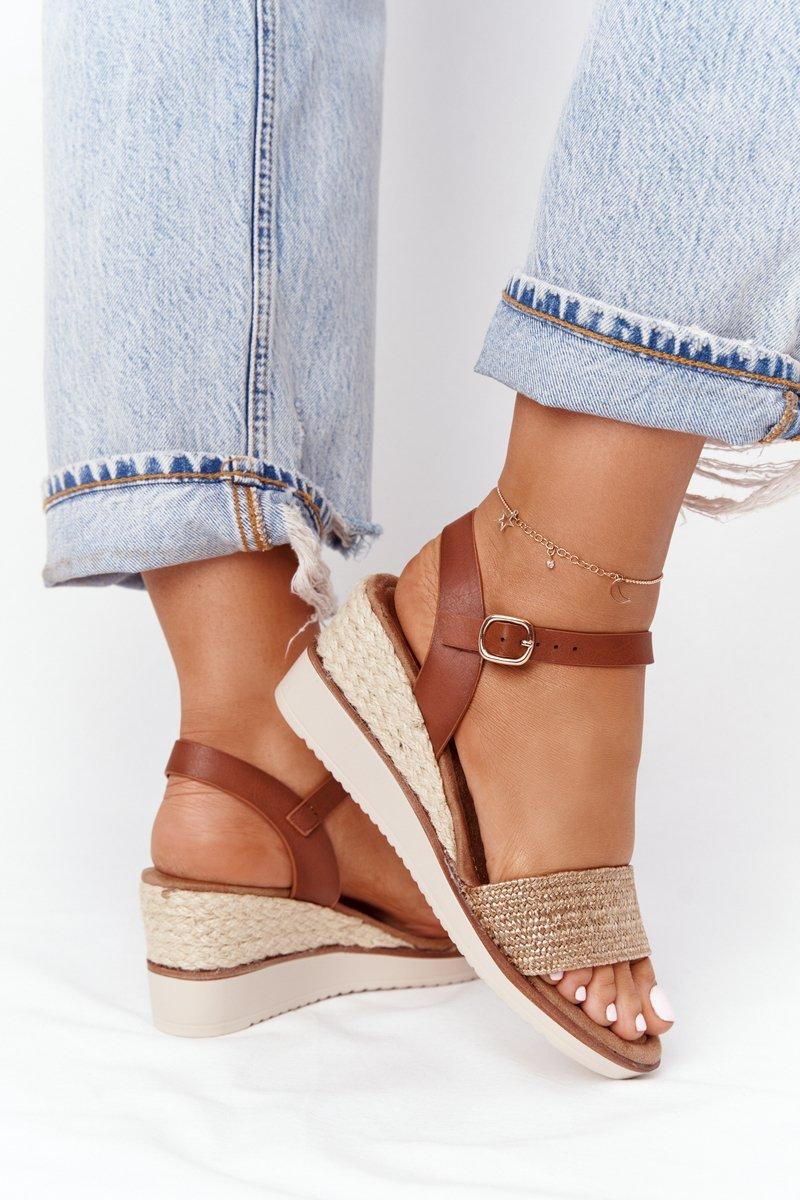 Wedge Sandals With Braids Beige Tenerife