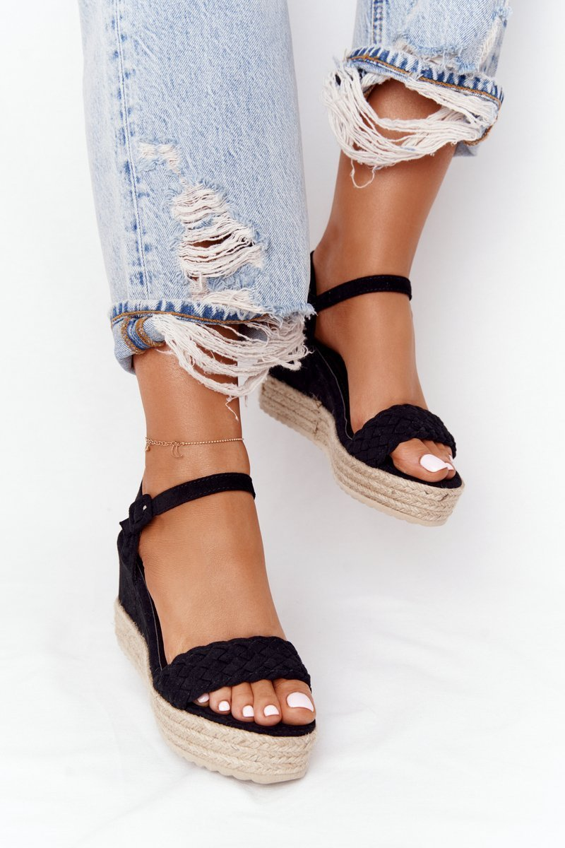 Wedge Sandals With Braids Black Baleary