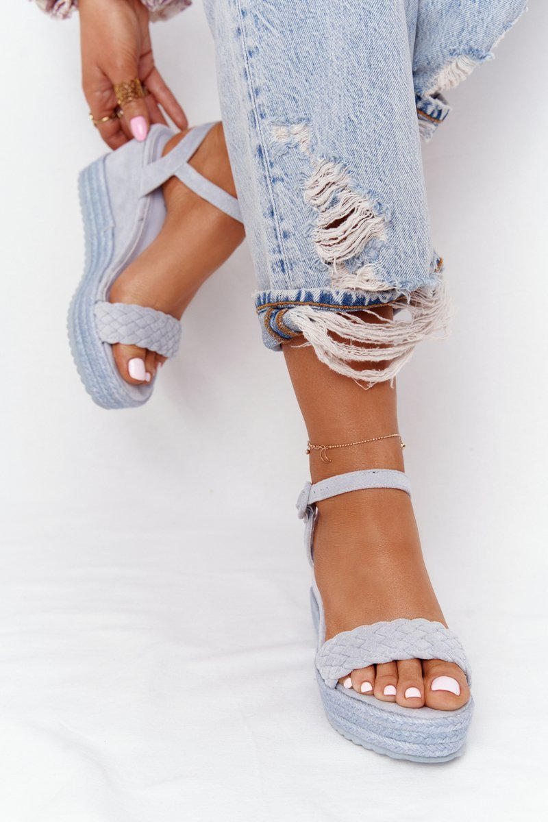 Wedge Sandals With Braids Blue Baleary