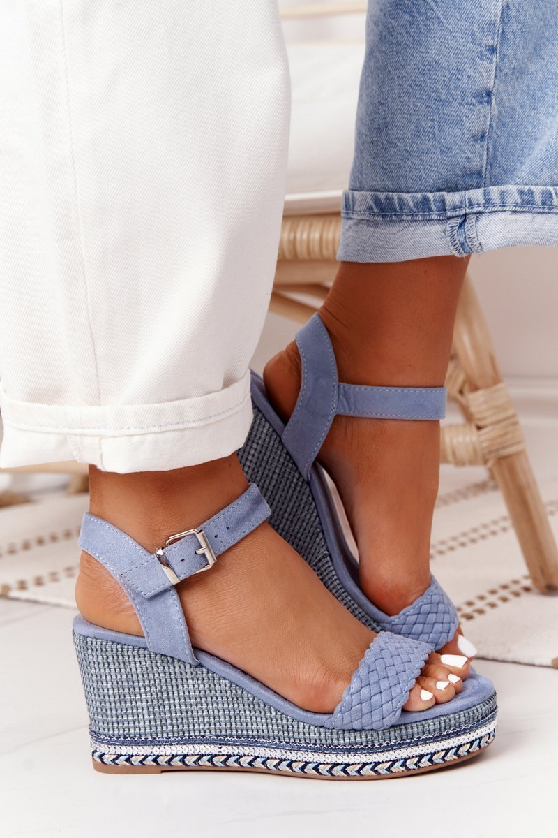 Wedge Sandals With Sequins Blue Scilla