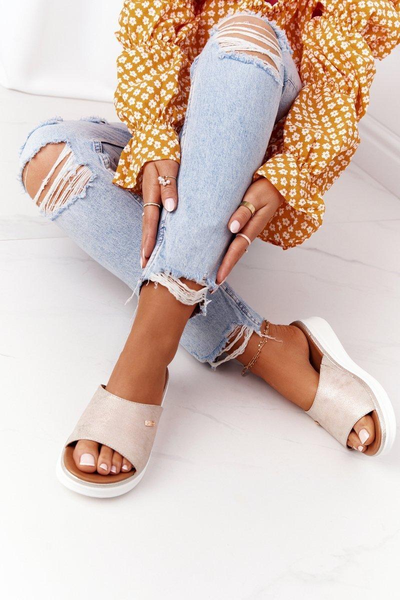 Wedge Slippers Sergio Leone SK042 Gold