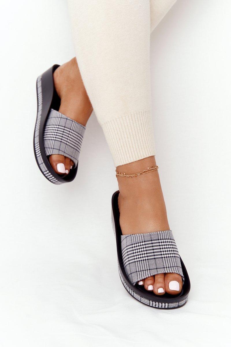Wedge Slippers Vinceza 21-17113 Grey Plaid