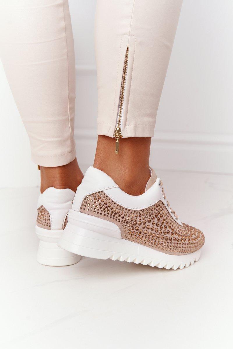 Wedge Sneakers With Sequins Lu Boo Beige