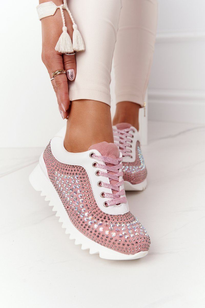 Wedge Sneakers With Sequins Lu Boo Pink