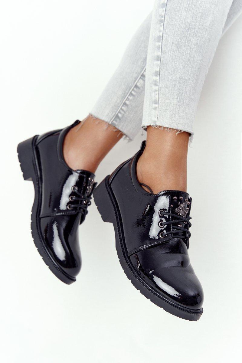 Women's Brogues Oxford Shoes S.Barski 309 Patent Black