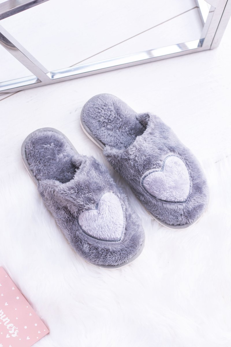 Women's Gray Heart Slippers