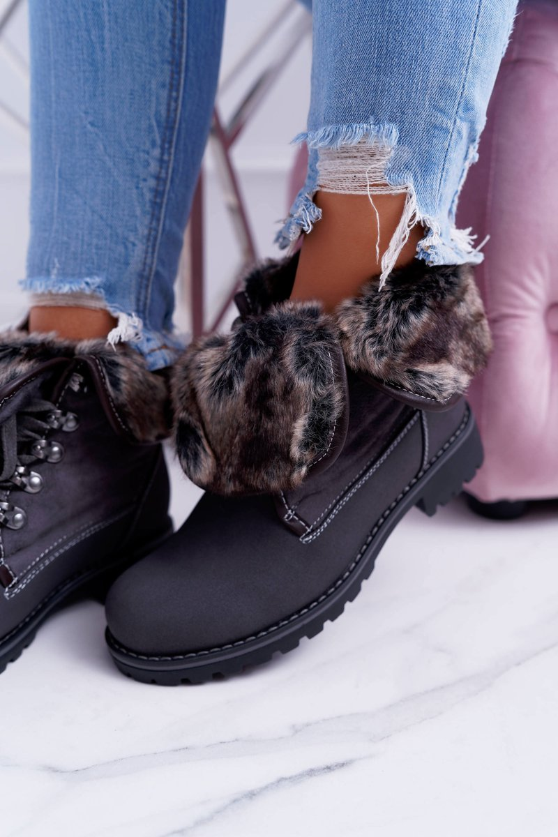 Women's Grey Ankle Boots  With Fur Chester