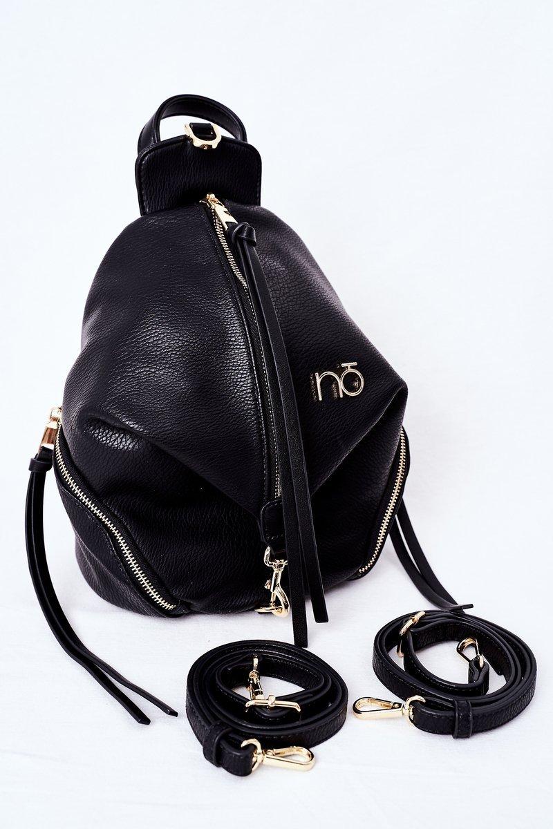 Women's Leather Backpack Purse 2in1 NOBO K3190 Black