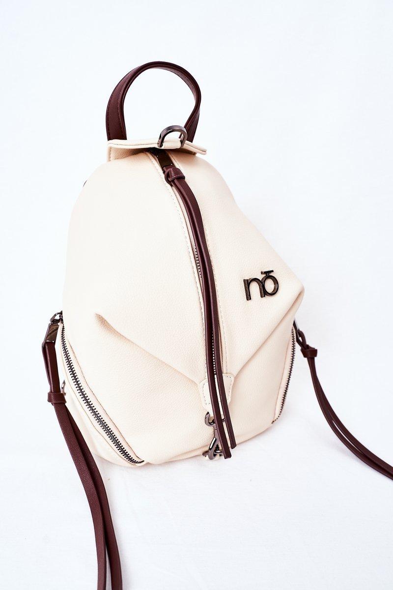 Women's Leather Backpack Purse 2in1 NOBO K3190 Light Beige
