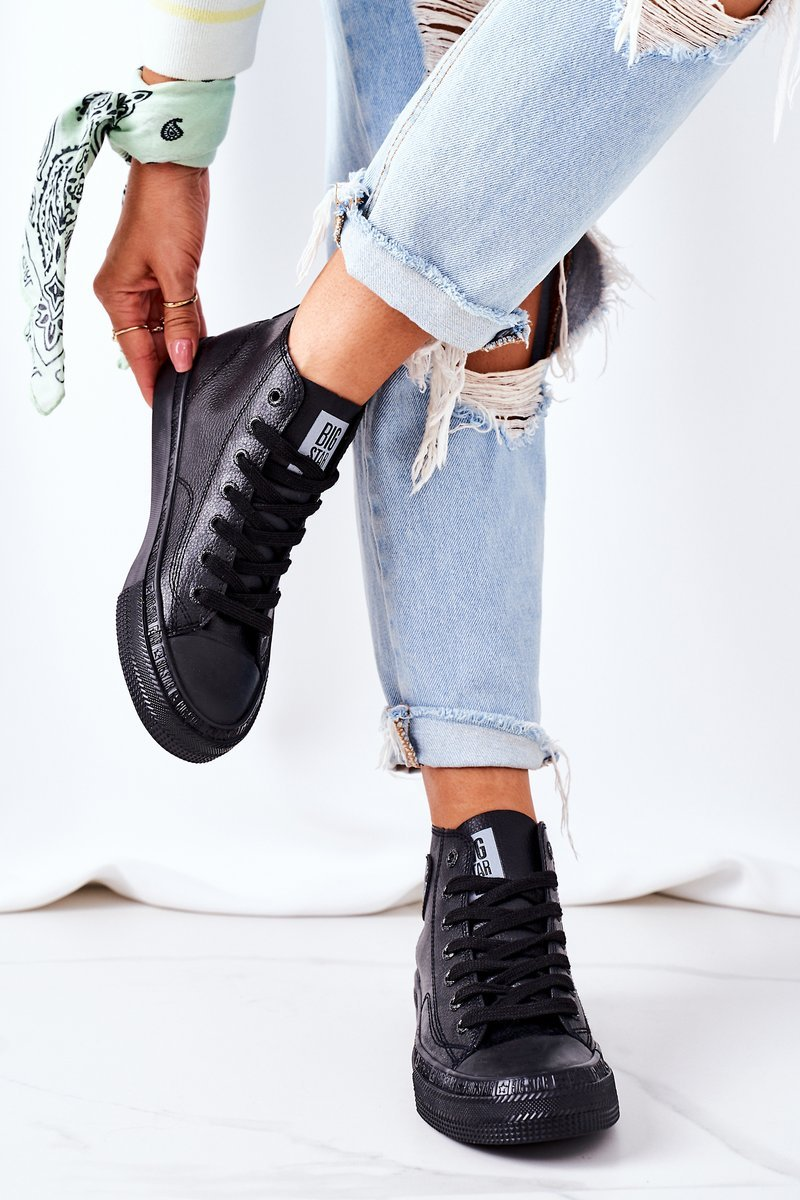 Women's Leather High Sneakers Big Star GG274015 Black
