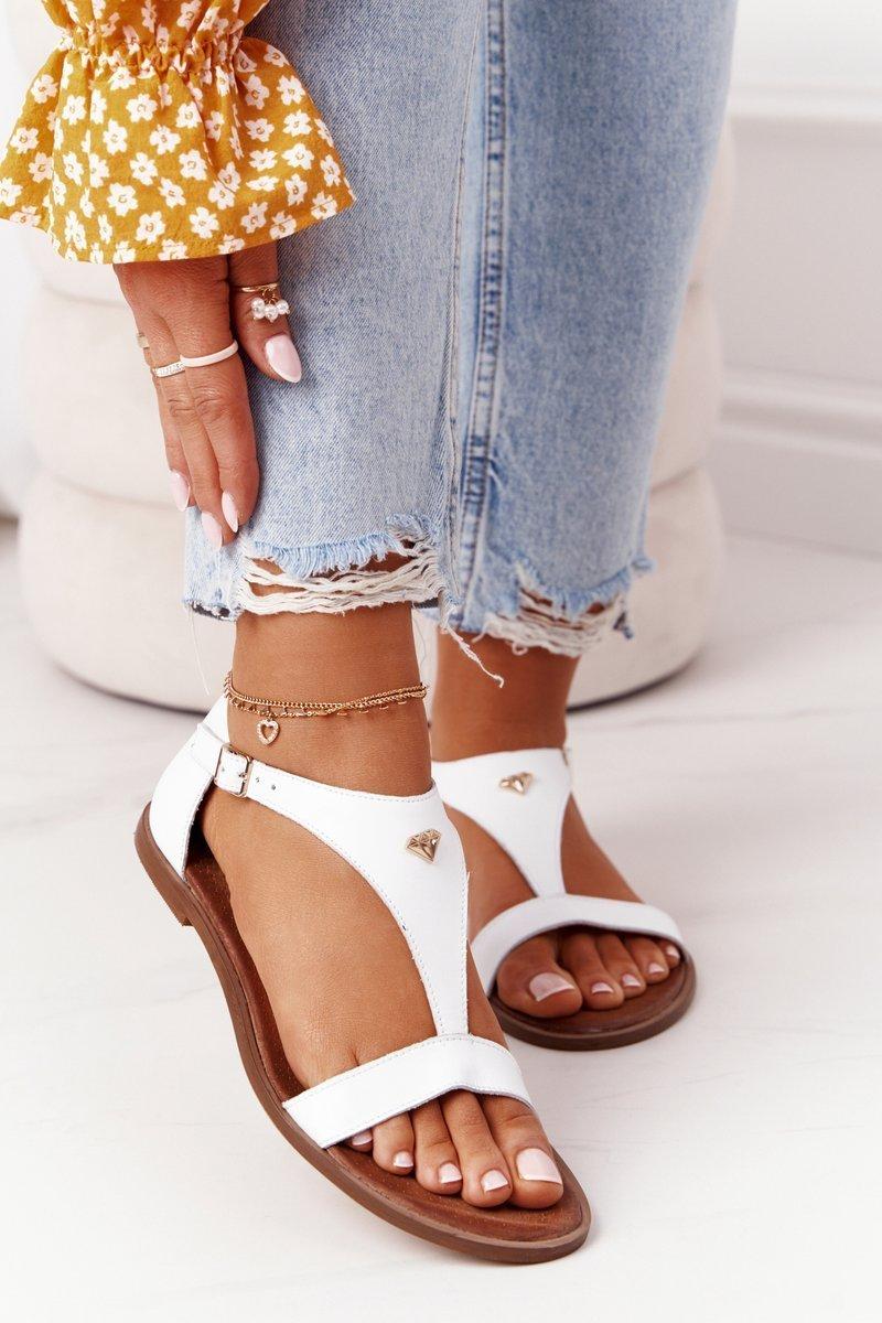 Women's Leather Sandals Nicole 2648 White