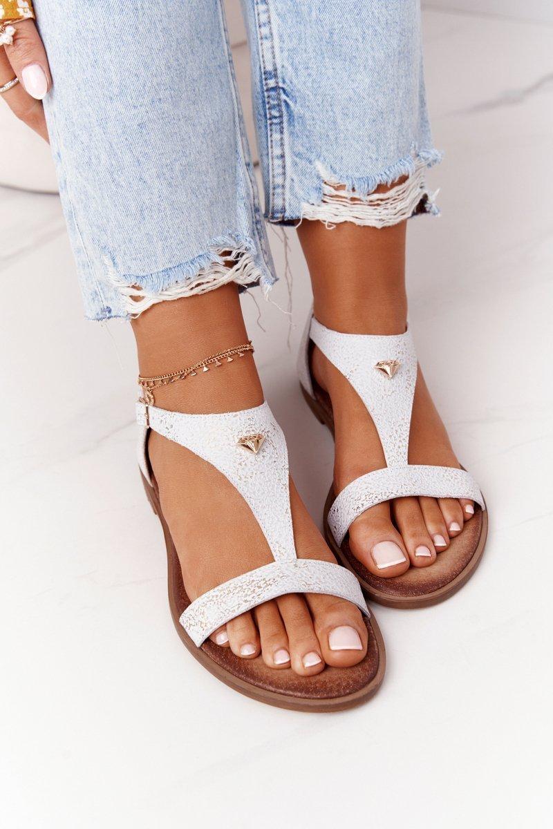 Women's Leather Sandals Nicole 2648 White Metallic