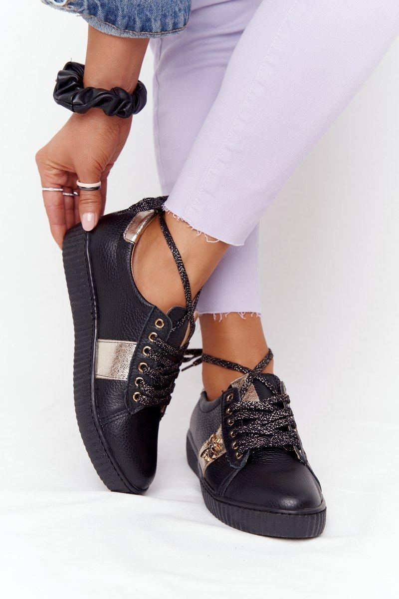 Women's Leather Sneakers Lewski Shoes 2786-0 Black-Gold