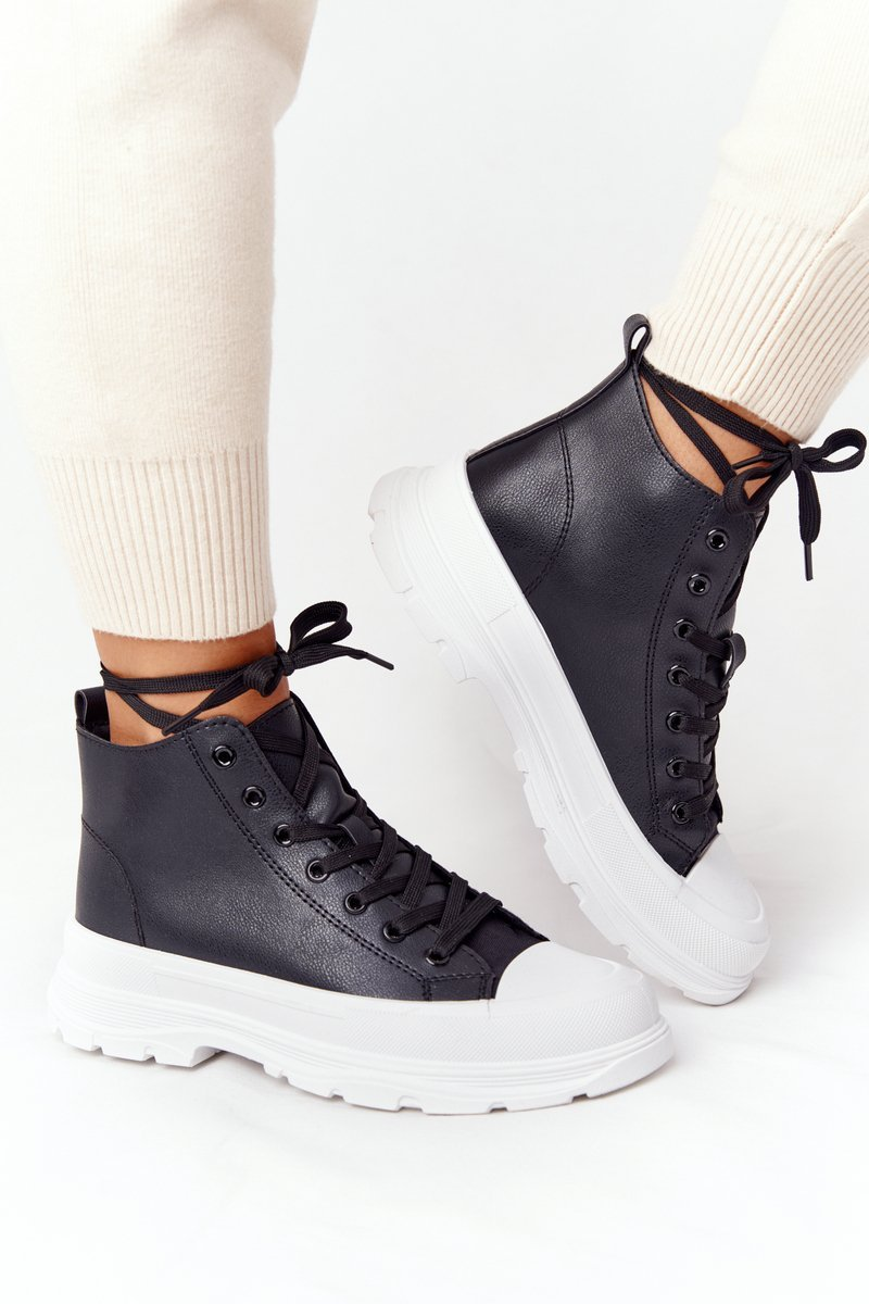 Women's Leather Sneakers On A Chunky Sole Black Trissy
