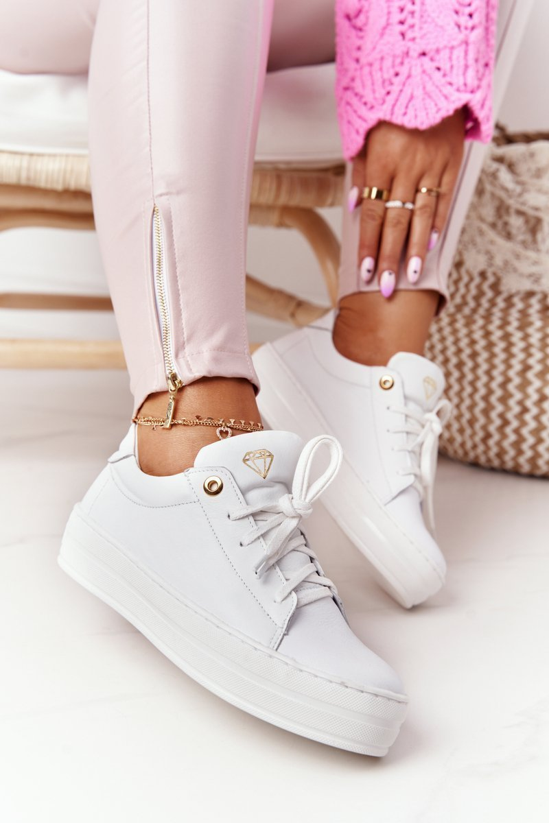 Women's Leather Sneakers On The Platform White Nicole 2645