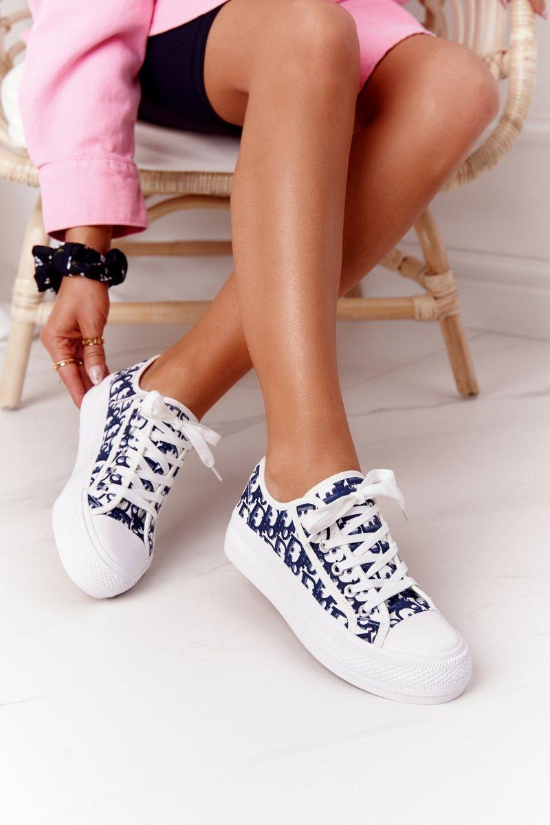Women's Logged Sneakers White-Dark Blue Daphne
