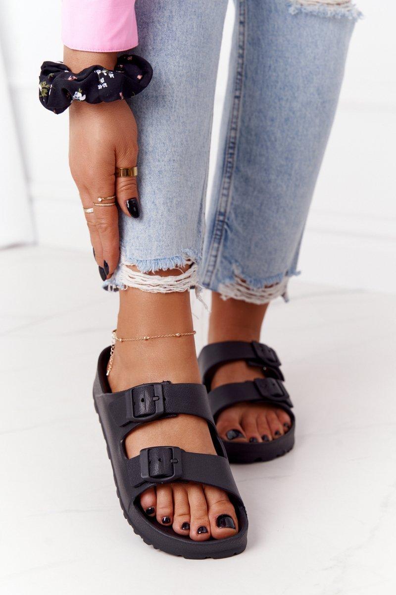 Women's Rubber Slippers Black Stacy