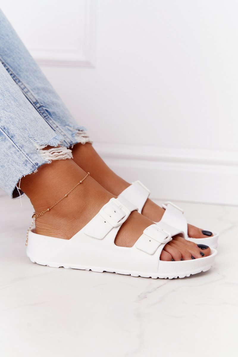 Women's Rubber Slippers White Stacy