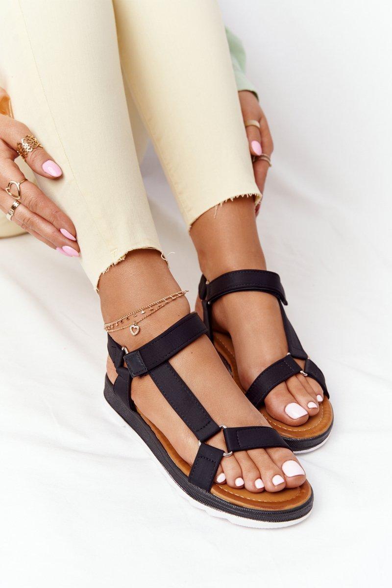 Women's Sandals On A Rubber Sole Black Stranger