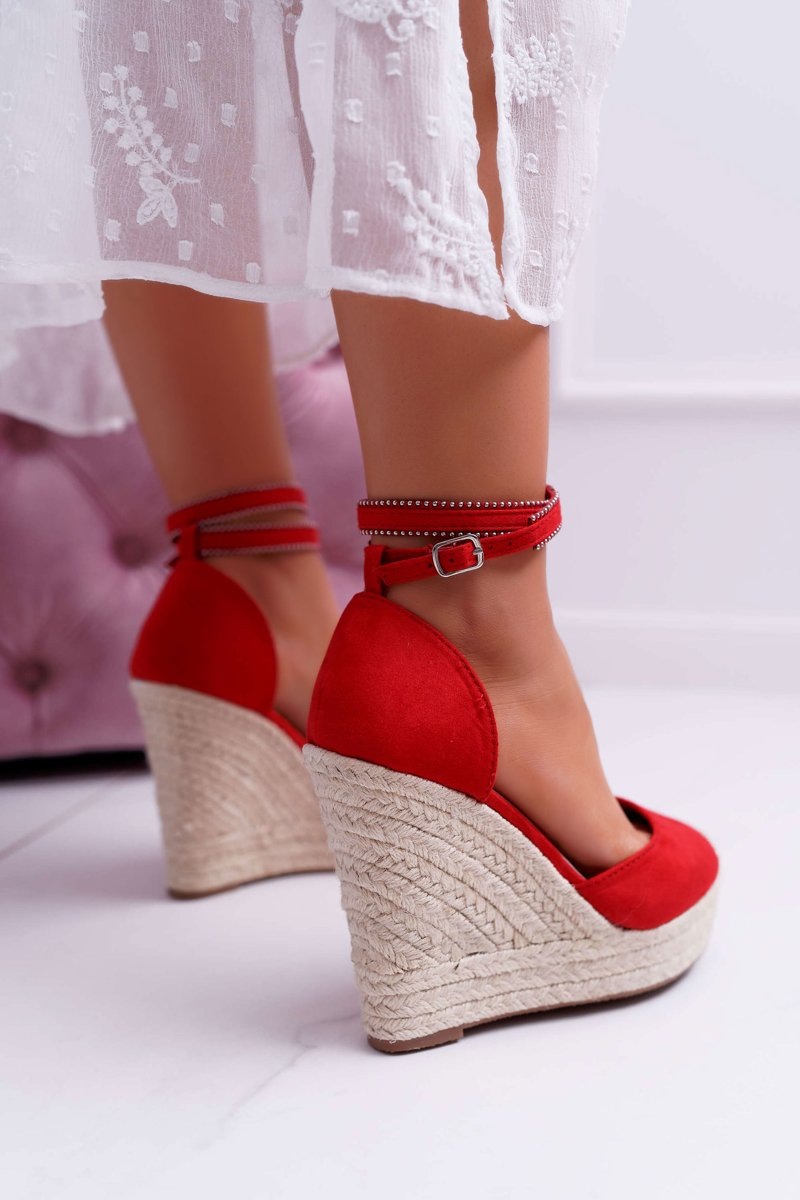 Women's Sandals On Wedge Linen Red Canterola