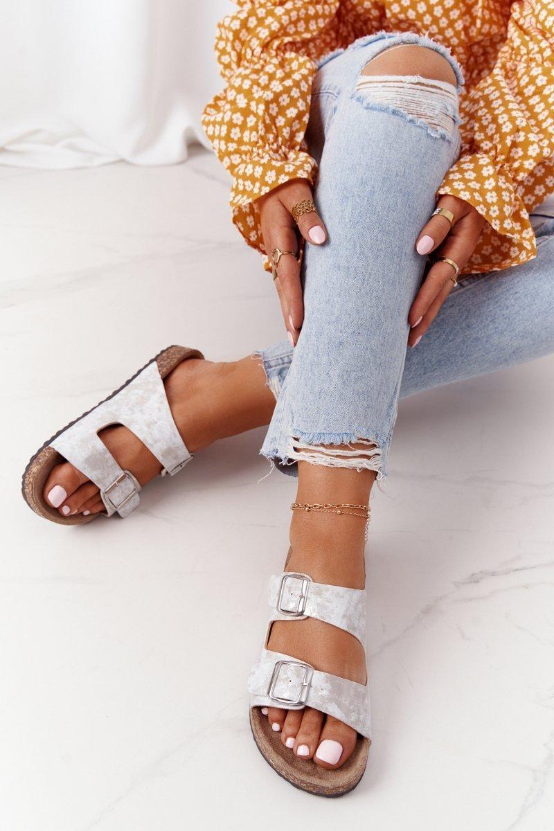 Women's Slides On Corck Silver Vivio