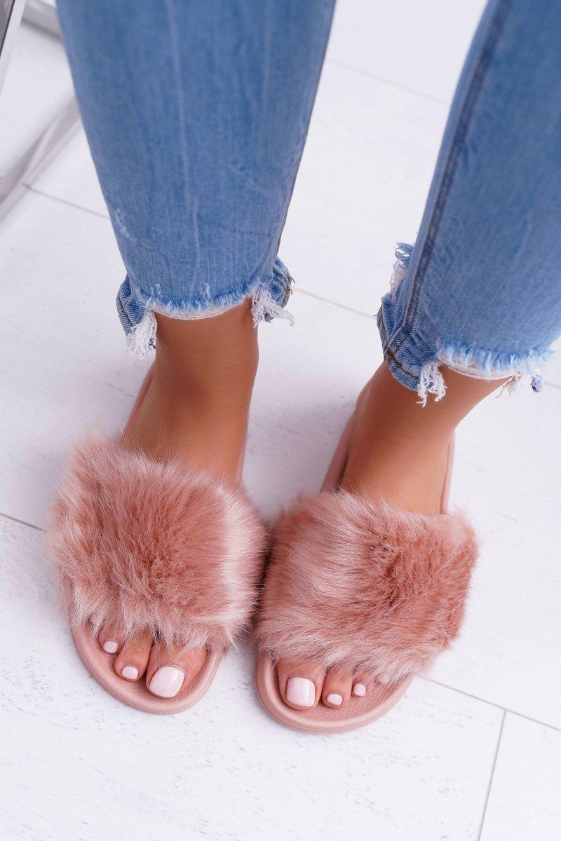 Women's Slides With Fur Powder Pink Fur