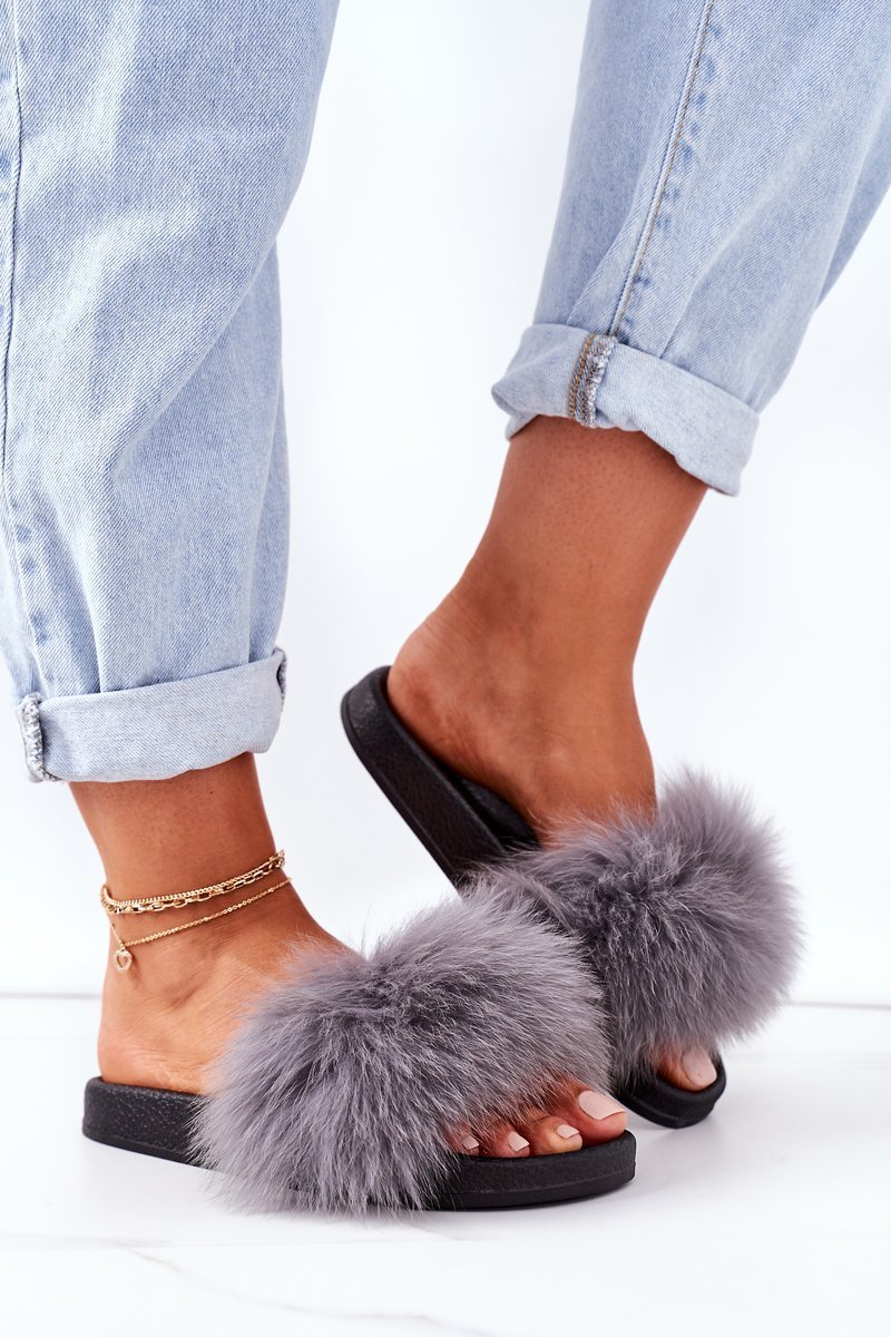 Women's Slippers With Fur Dark Grey Belmondo