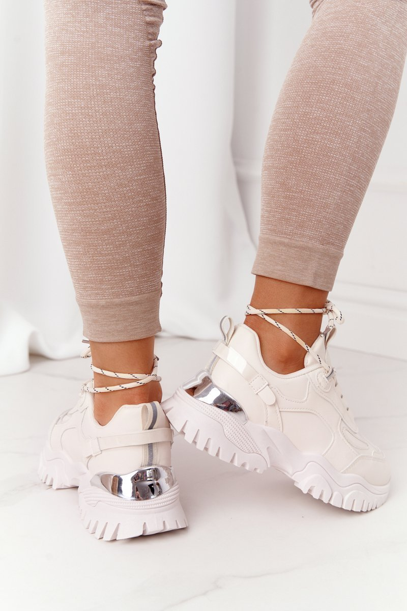 Women's Sneakers On A Chunky Sole Beige Influencer