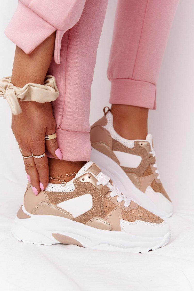 Women's Sneakers On A Chunky Sole Beige Yolo