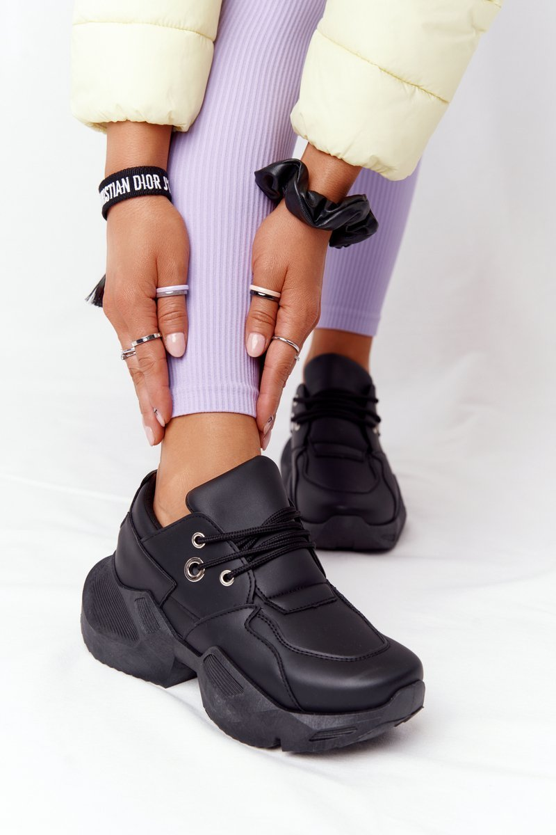 Women's Sneakers On A Chunky Sole Black Bubbly