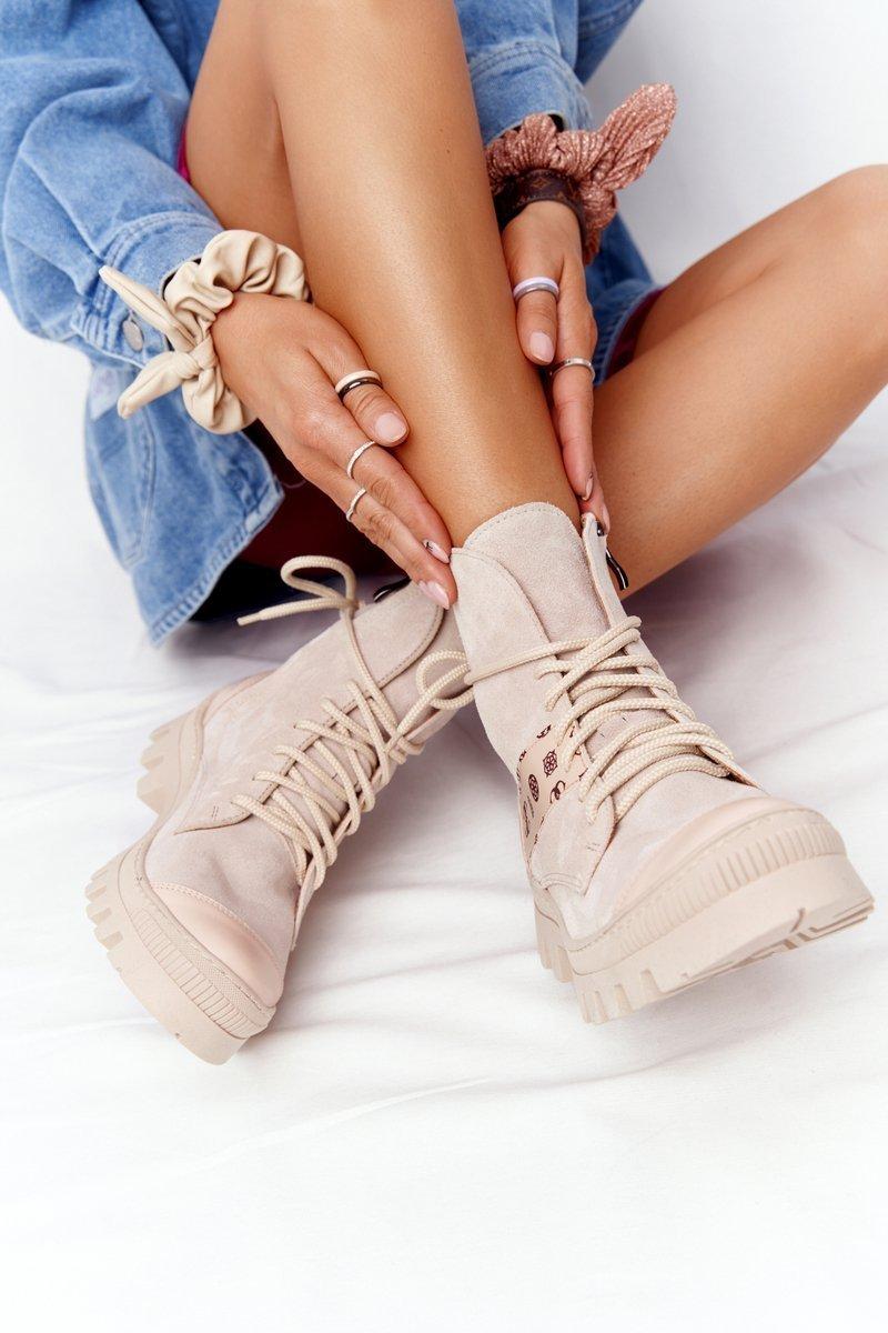 Women's Suede Boots Lewski Shoes 2942-0 Light Beige