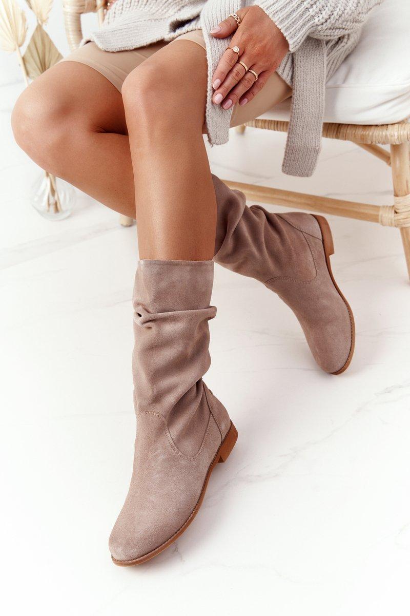 Women's Suede Boots Maciejka 05057-04 Beige