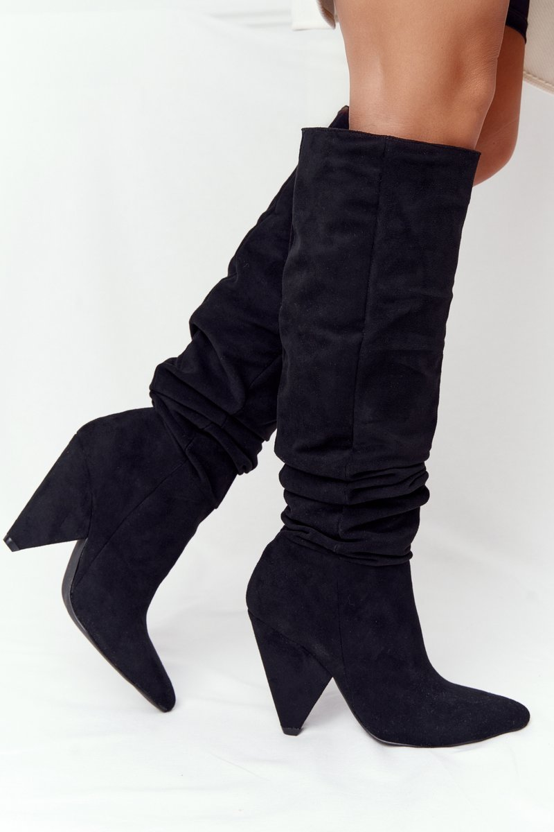 Women's Suede Knee Boots Lu Boo Black