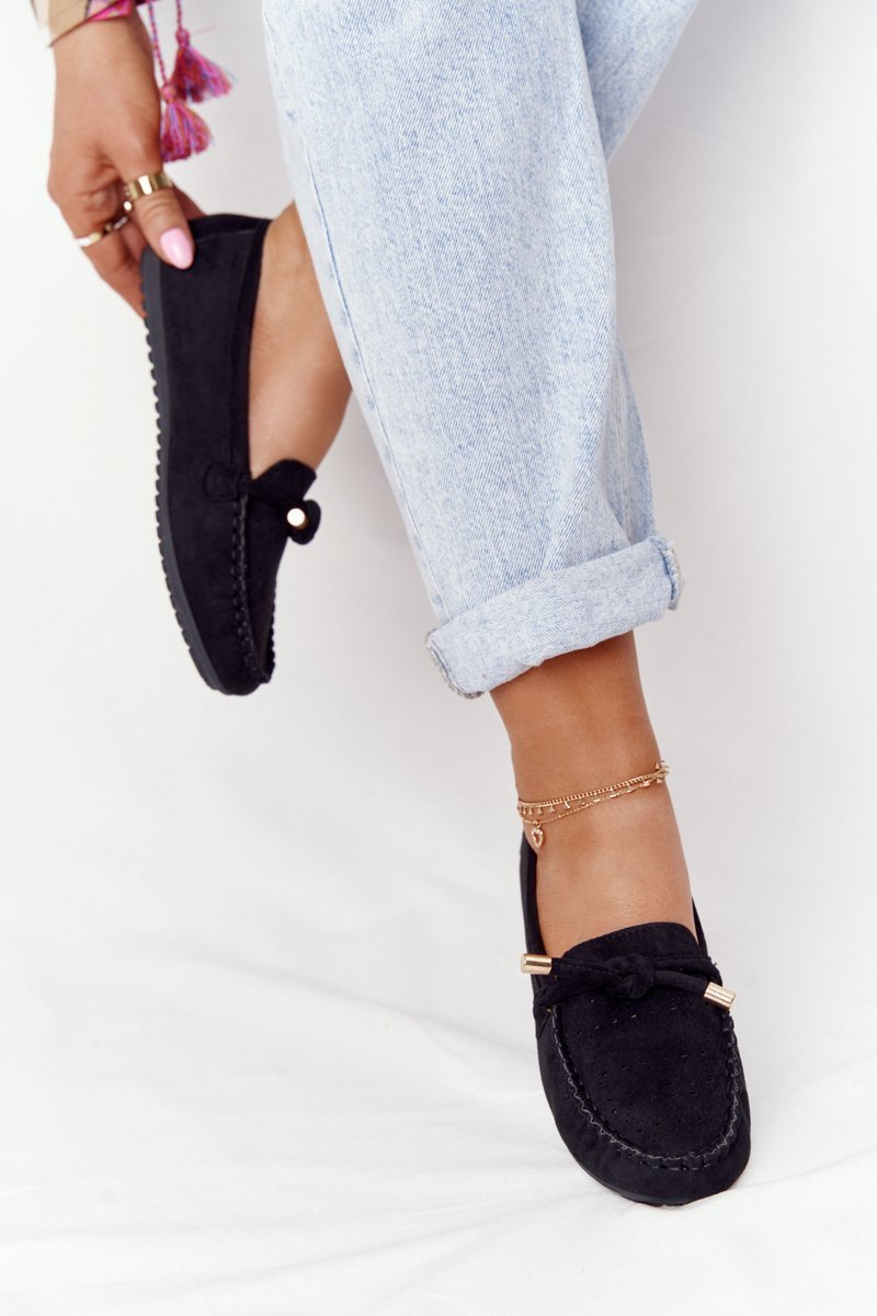 Women's Suede Loafers Black Marylin