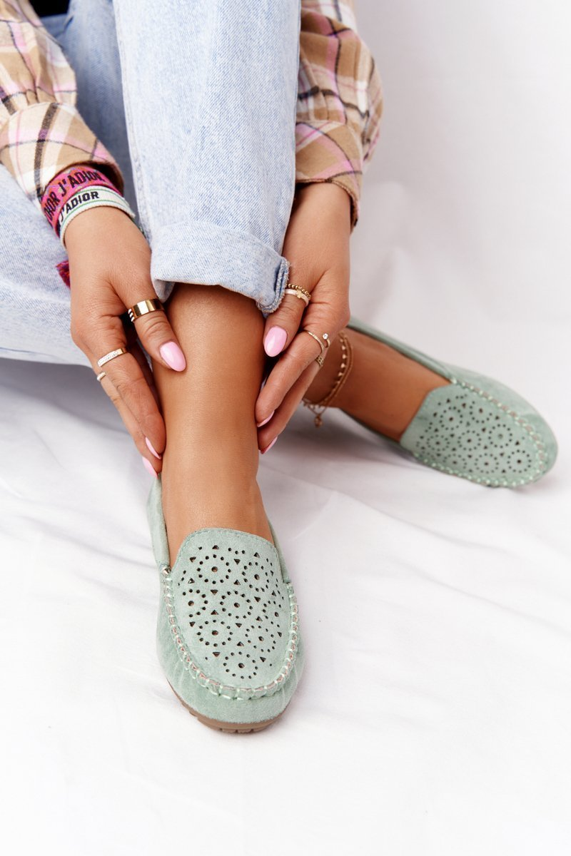 Women's Suede Loafers Green Molly