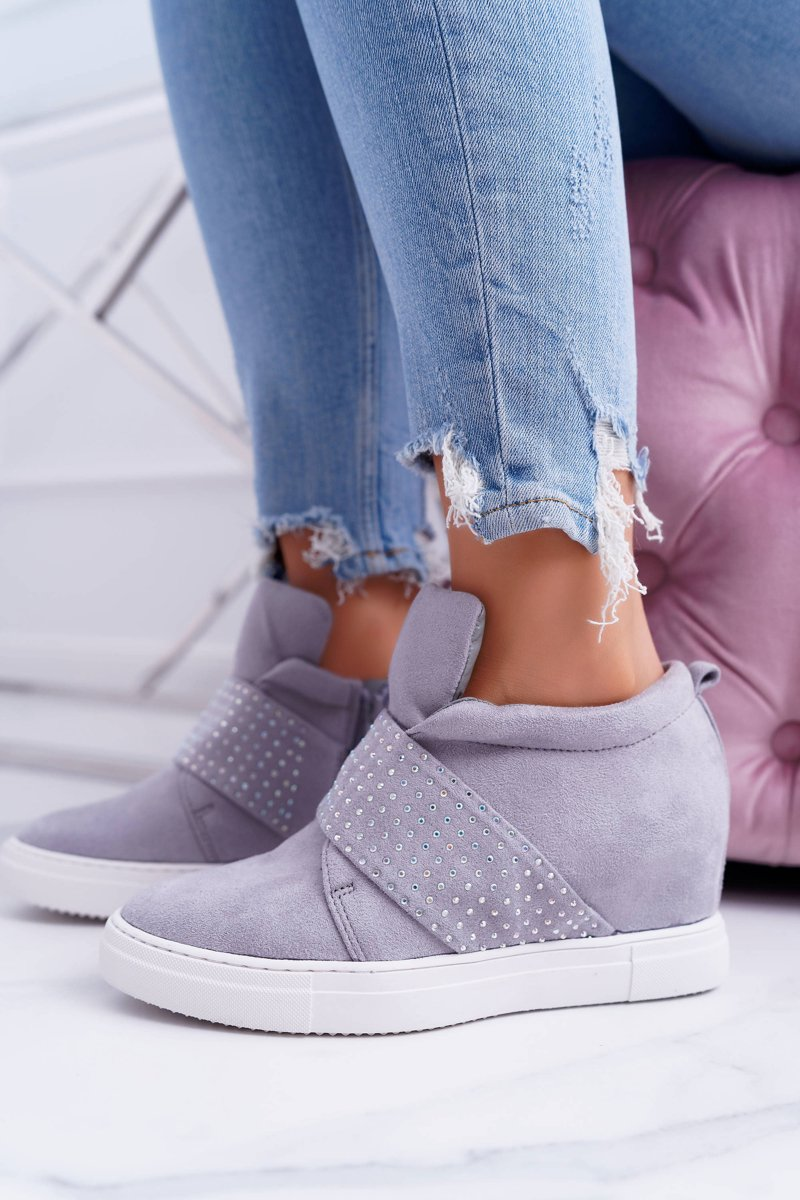 Women's Wedge Sneakers Grey Lu Boo Sequins PinkSugar