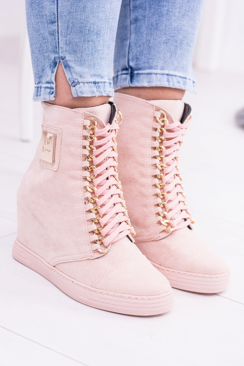 Women's Wedge Sneakers Lu Boo Suede With Chains Pink Monica
