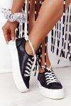 Glitter Sneakers On A Platform Black Luna