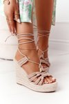 Lace-up Wedge Sandals With Braids Nude Run The World