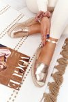 Leather Espadrilles On A Braided Sole Big Star HH274503 Gold