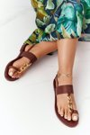 Leather Sandals Flip-flops Big Star HH274706 Brown
