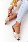Leather Sandals Maciejka 05199-04 Beige-Gold
