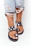 Leather Slippers With Rhinestones Black Ava