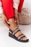 Leather Wedge Sandals Laura Messi 2232 Black